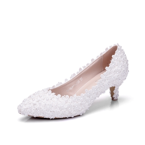 White Wedding Shoes Beads Appliques Women's Heels