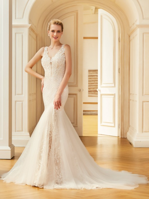 Straps Court Train Lace Mermaid Wedding Dress