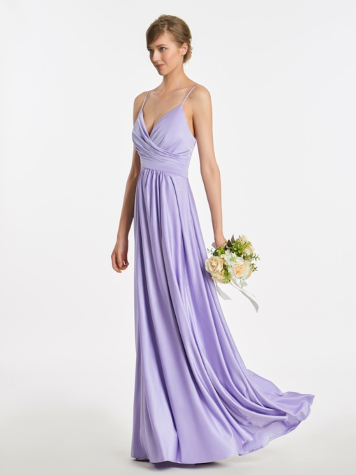 Spaghetti Straps Floor-Length A-Line Bridesmaid Dress