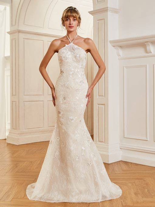Halter Mermaid Appliques Lace Wedding Dress