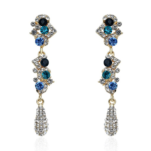Colorful Full Drill Rhinestone Alloy Earrings