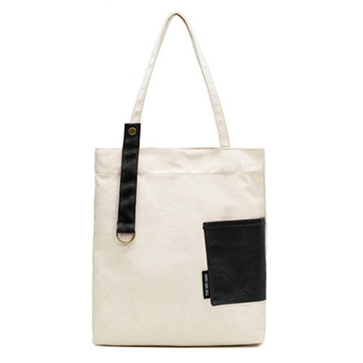 Casual Color Block Canvas Shoulder Bag