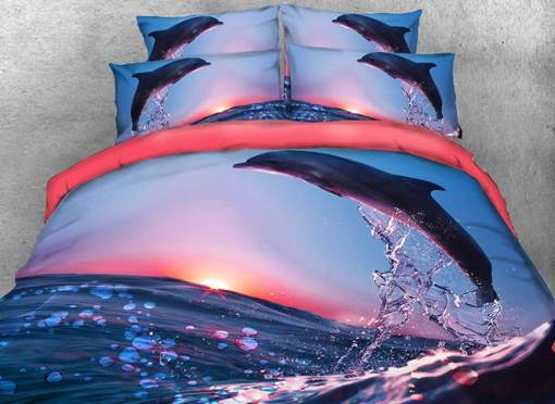 Dolphin Jumping at Sunset Printed Cotton 3D 4-Piece Bedding Sets/Duvet Covers