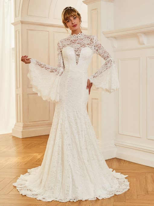 Long Sleeves Lace Mermaid Vintage Wedding Dress