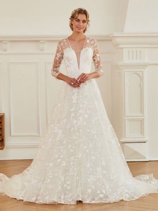 V-Neck 3/4 Length Sleeves A-Line Lace Wedding Dress