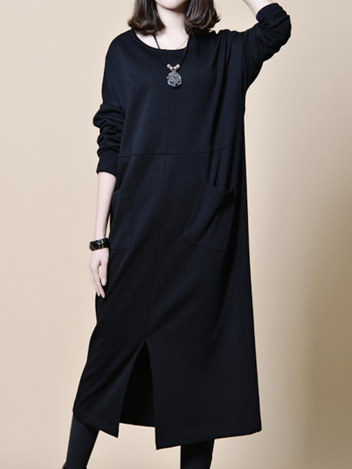 Plain Pockets Turtle Neck Women's Maxi Dress