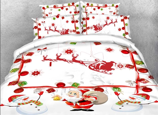 Santa Claus Designer Cartoon 4 Piece Bedding Set