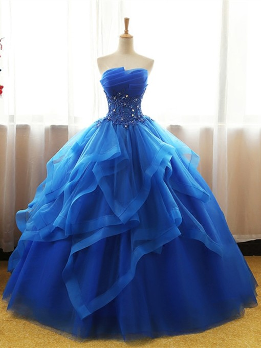 Scalloped-Edge Ball Gown Appliques Beading Floor-Length Quinceanera Dress