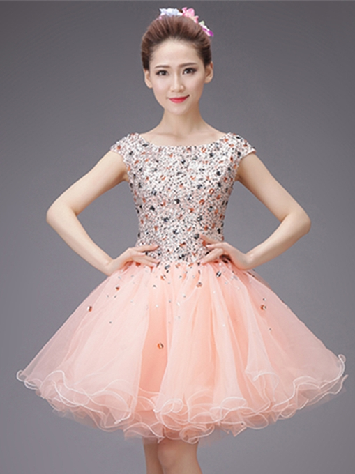 Beading Rhinestone Scoop Ball Gown Homecoming Dress