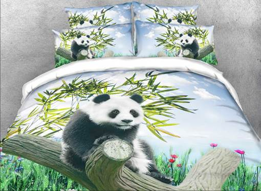 Panda on a Branch Printed Cotton 4-Piece 3D Bedding Sets/Duvet Covers