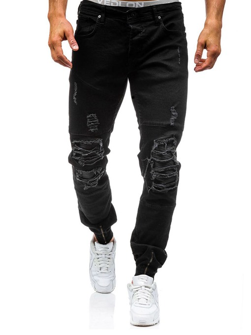 Mid Waist Hole Cotton Slim Fit Casual Men's Fashion Jeans