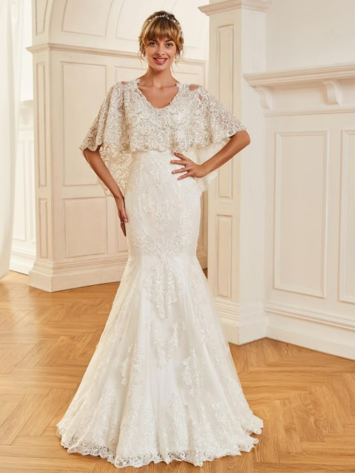 V-Neck Appliques Mermaid Wedding Dress with Beaded Jacket