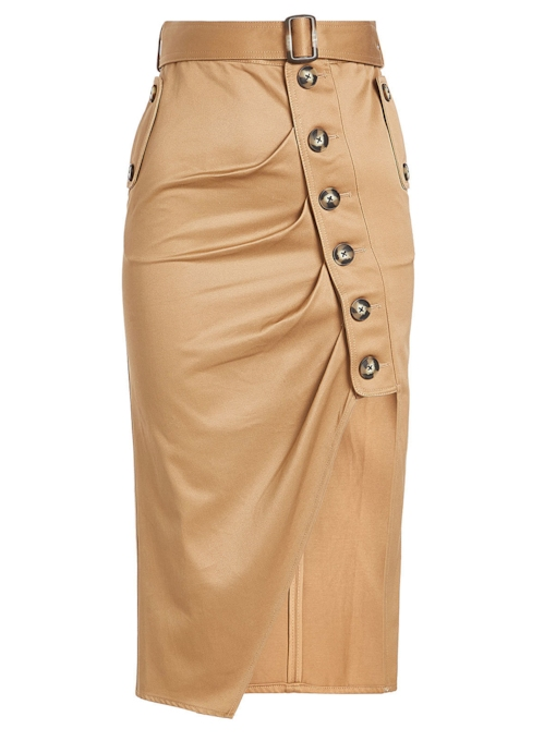 Asymmetrical Mid-Calf Pleated Women's Skirt