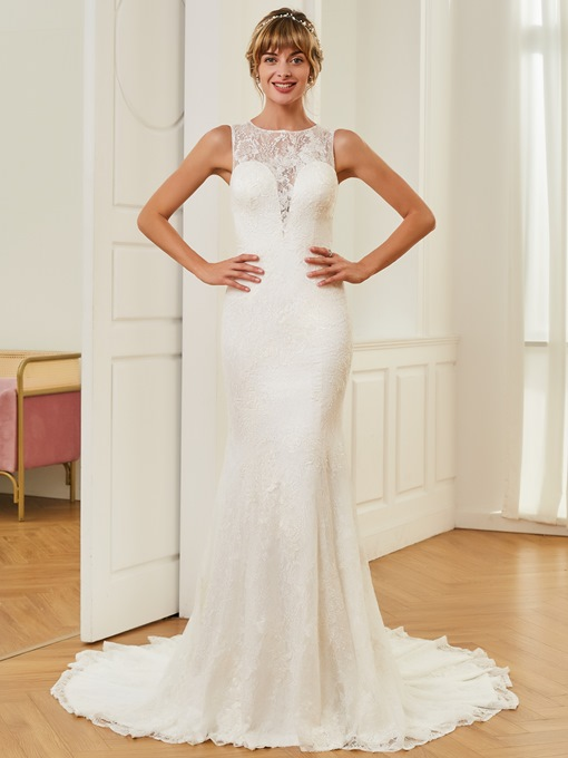 Scoop Neck Lace Button Mermaid Wedding Dress