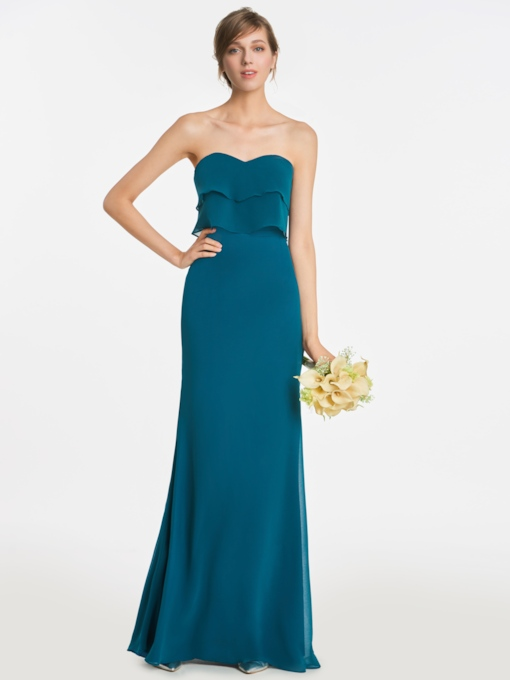 Sweetheart Tiered Zipper-Up Sheath Bridesmaid Dress