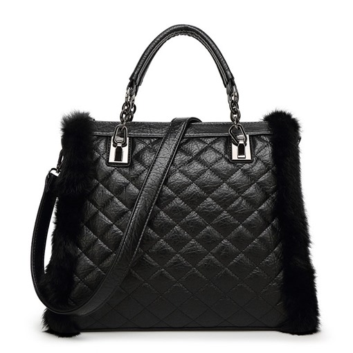 Quilted Lining Plush Design Zipper Tote