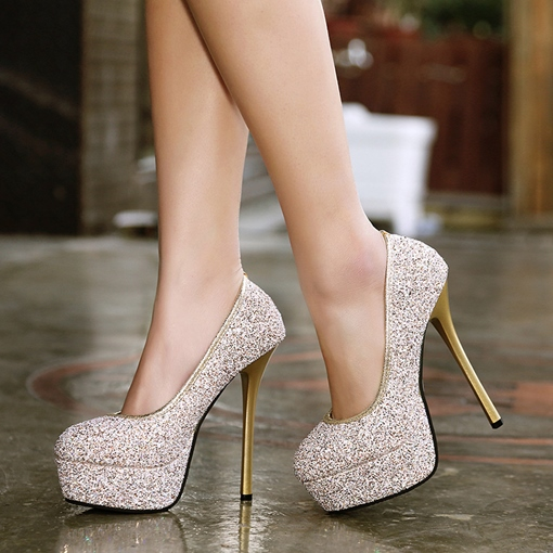 Glitter Slip-On Banquet Women's High Heels Pumps Shoes