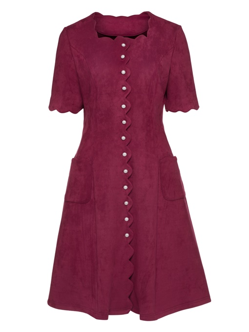Red Short Sleeve Single-Breasted Women's Day Dress