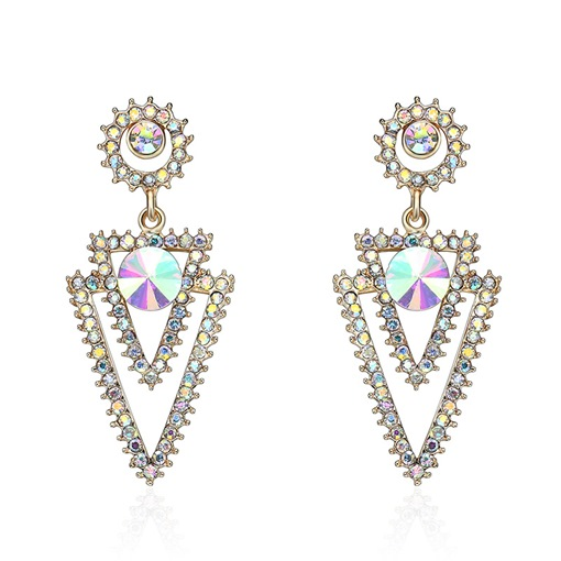 Double Triangle Alloy Diamante Drop Earrings