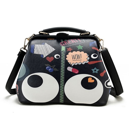 Vintage Personality Print Cross Body Bag