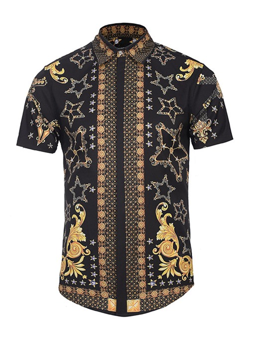 Lapel Ethnic 3D Printed Slim Fit Men's Short Sleeve Shirt
