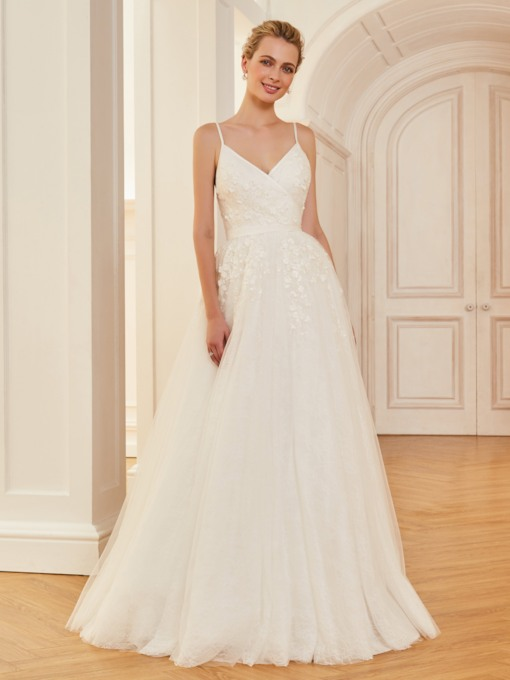 Spaghetti Straps Lace A-Line Appliques Wedding Dress