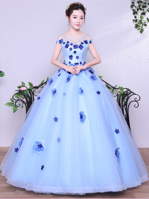 Ball Gown Flowers Sleeveless Scoop Floor-Length Quinceanera Dress