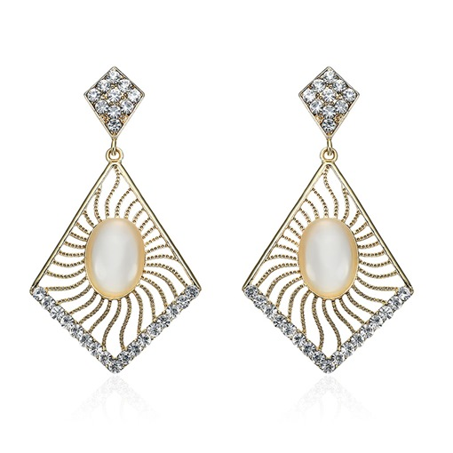 Rhombus Diamante Alloy Lucid Oval Cut Stone Earrings