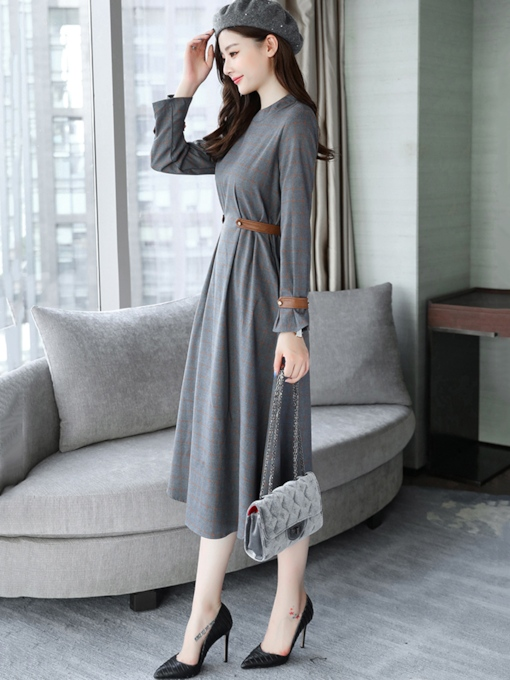 Gray Plaid Pockets Women's Day Dress