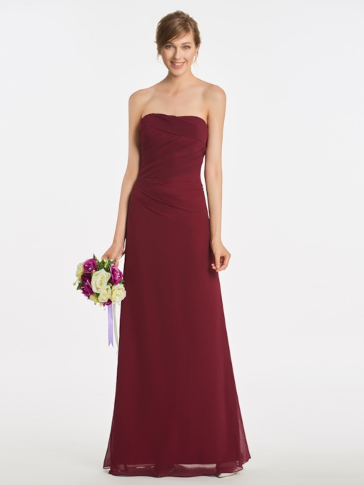 Strapless Sheath Pleats Long Bridesmaid Dress