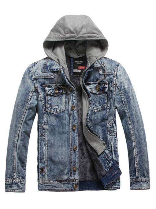 Hooded Lapel Vintage Slim Men's Denim Jacket