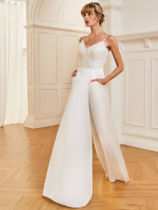 Spaghetti Straps Lace Pockets Bridal Jumpsuits
