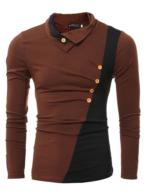 Lapel Inclined Button Patchwork Plain Slim Fit Men's Long Sleeve T-Shirt