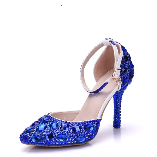 Blue Rhinestone Wedding Shoes Color Block Women's Heels