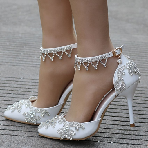 White Wedding Shoes for Women Rhinestone Heels