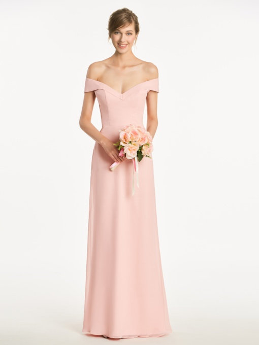 Off the Shoulder Cap Sleeves Long Bridesmaid Dress