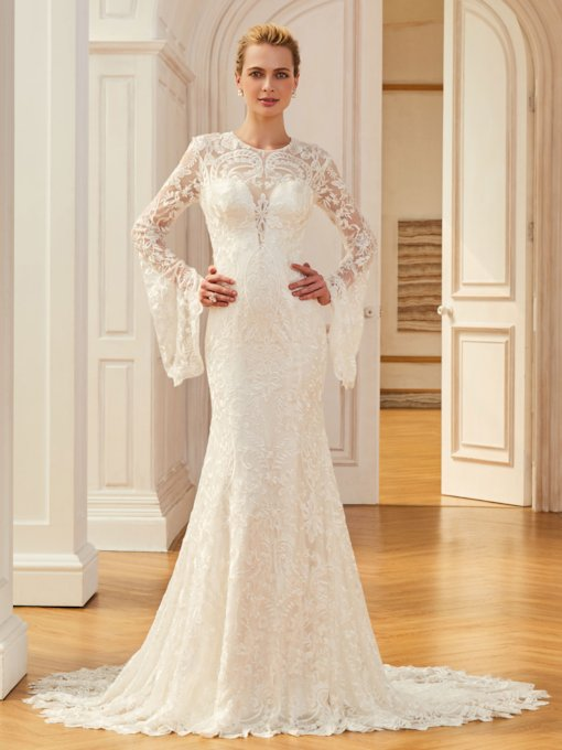 Jewel Mermaid Lace Long Sleevs Wedding Dress