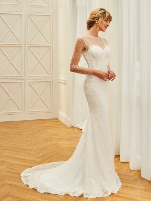Sheer Neck Long Sleeve Beaded Wedding Dress
