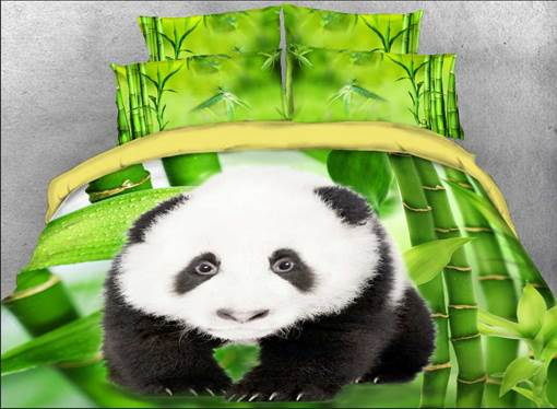 Panda Cub and Green Bamboo Printed Cotton 3D 4-Piece Bedding Sets/Duvet Covers