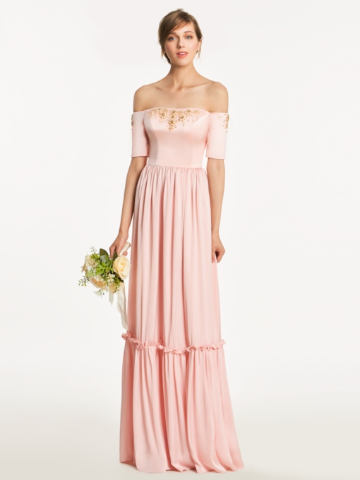 Off-The-Shoulder Short Sleeves Beading Bridesmaid Dress