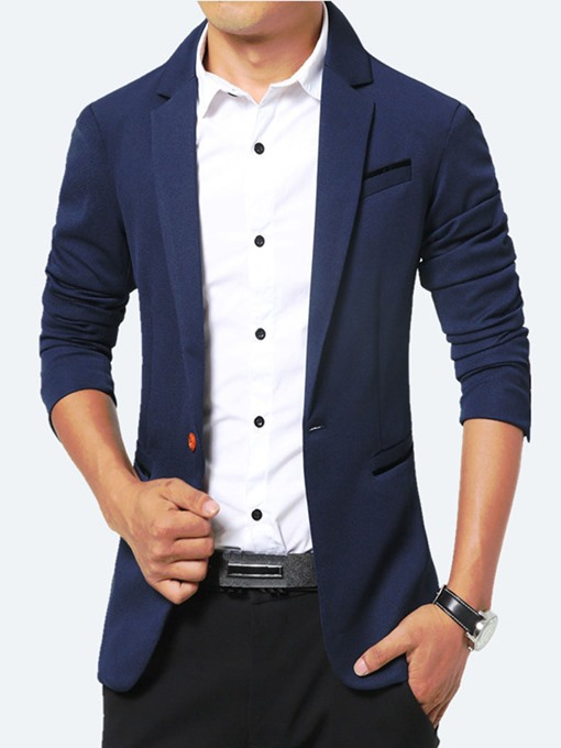 Notched Collar One Button Slim Fit Men's Casual Blazer