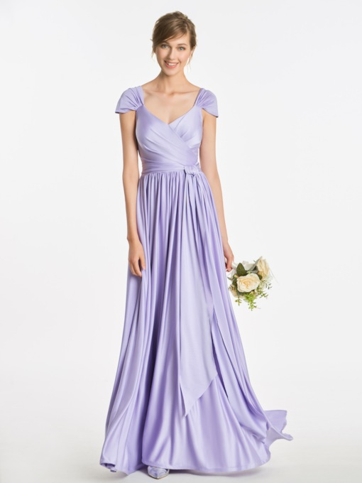 Cap Sleeves Pleats Sashes Bridesmaid Dress