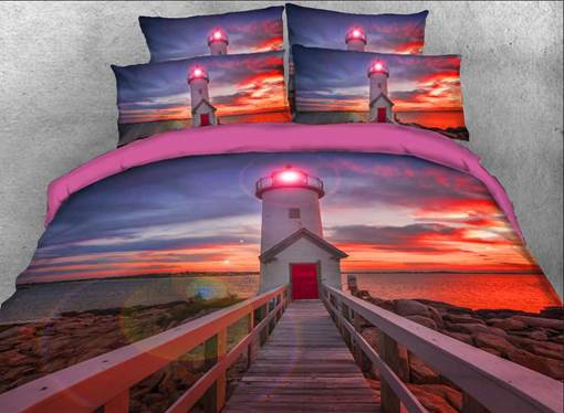 Lighthouse at Sunset Printed Cotton 3D 4-Piece Bedding Sets/Duvet Covers