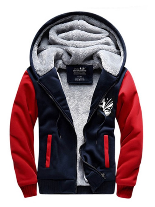 Hooded Thicken Warm Down Patchwork Loose Men's Casual Hoodie