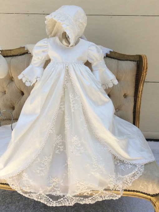 Sleeves Lace Appliques Baby Baptism Gown With Bonnet