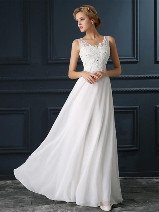 A-Line Scoop Appliques Beading Floor-Length Evening Dress