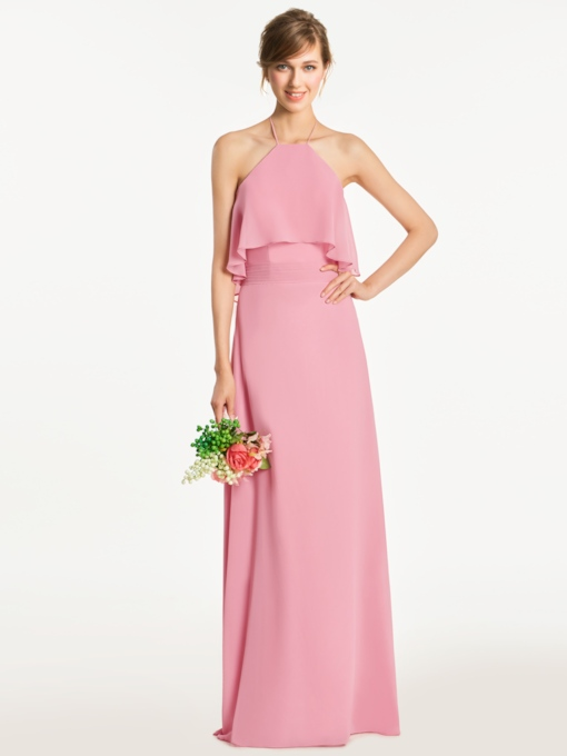 Halter Zipper-Up Pleats A-Line Bridesmaid Dress