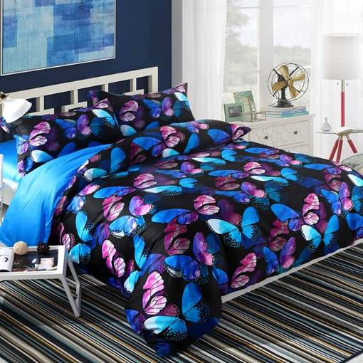Magical Blue Pink Morpho Butterflies Printed 4-Piece Cotton Bedding Sets