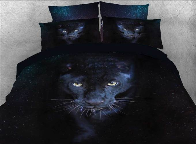 Wild Panther Printed Cotton 4-Piece Black 3D Bedding Sets/Duvet Covers