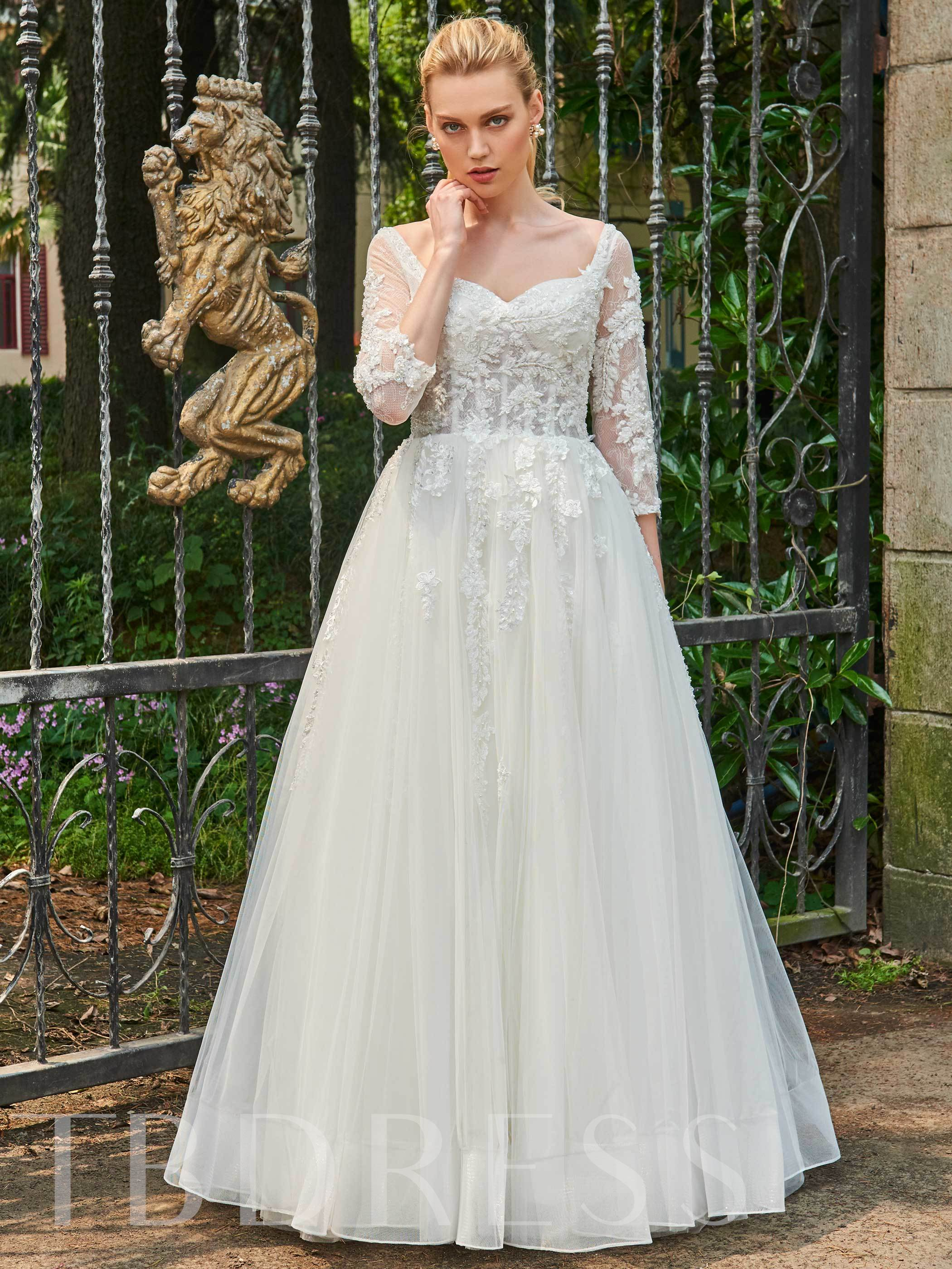 Image of 3/4 Length Sleeves Beading Appliques Wedding Dress